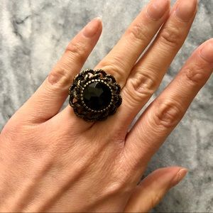 NWOT Black Gemstone Ring, brushed gold